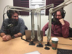 Matthew Andrews and Jonathan Weiler in podcast studio